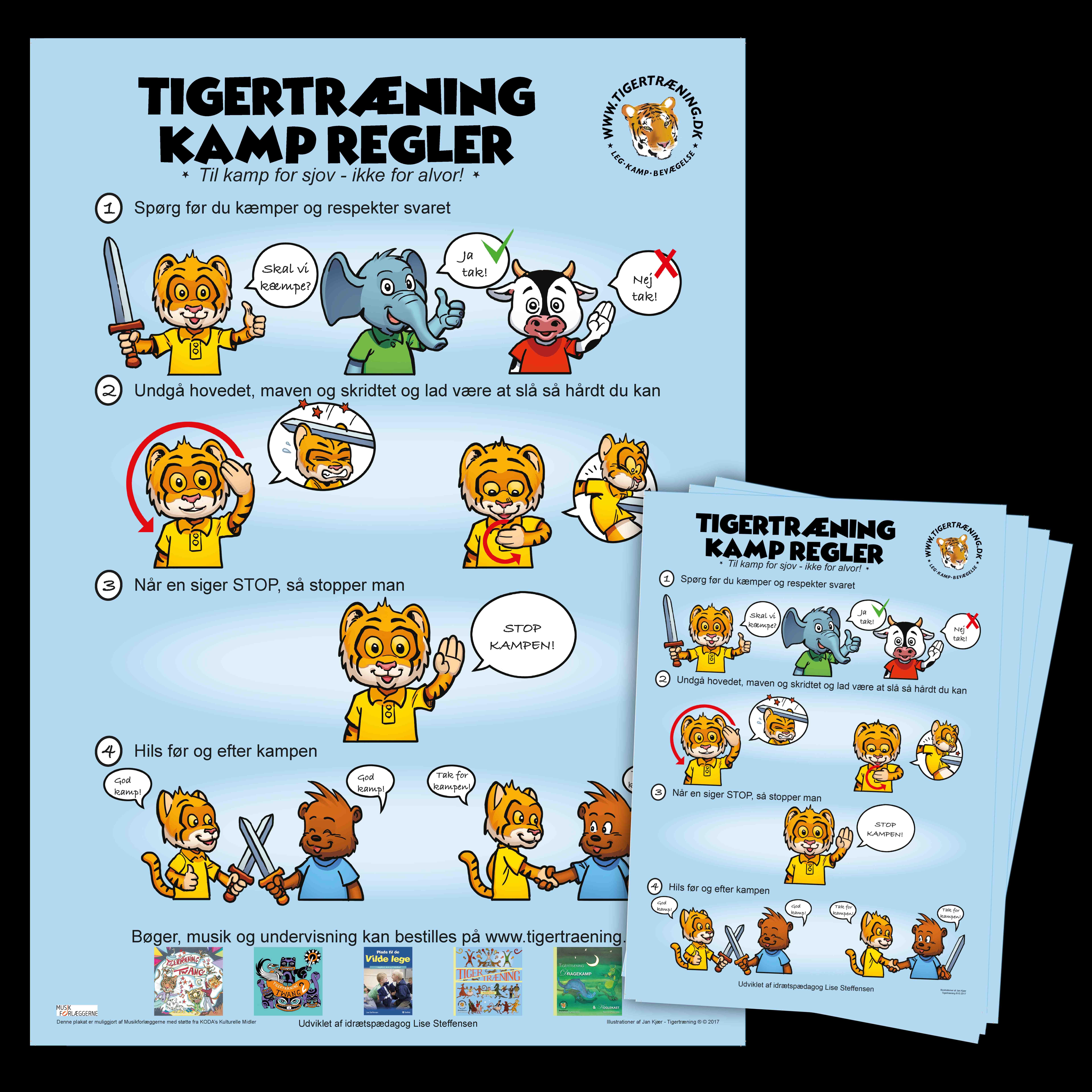 Tigertræning kampregler plakat 3 regler der følges let. Tegnet af Jan Kjær.